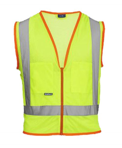 Skillers High Visibility Mesh Safety Vest - Lime Green