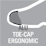 Ergonomic aluminium toe cap