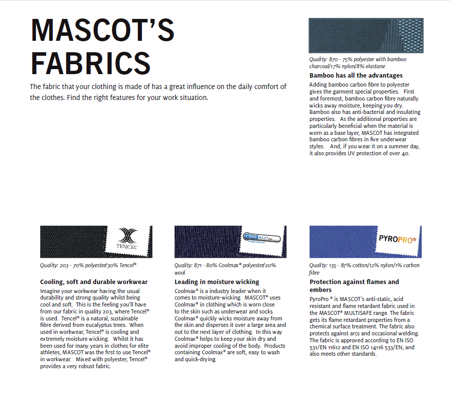 MASCOT Fabrics Index