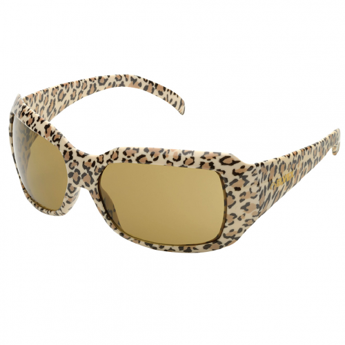 elvex chica safety glasses with leopard frame and Brown lens, SG-42BR-LEO