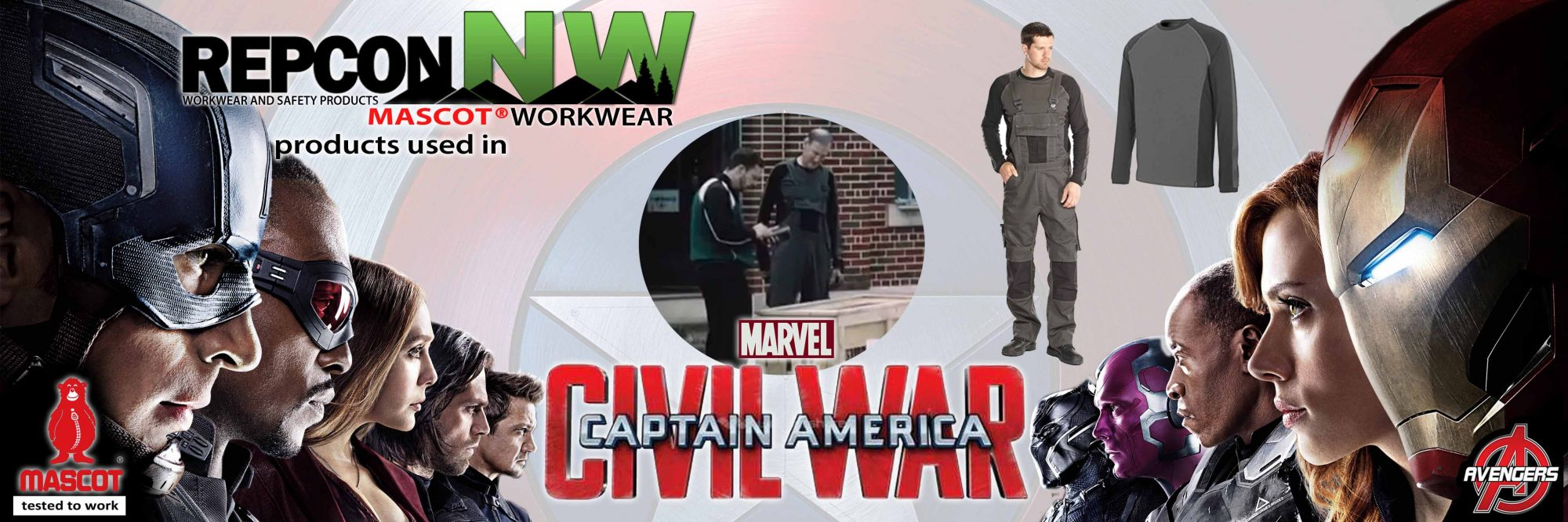 RECPON NW MASCOT Workwear in Marvel Civil War Banner