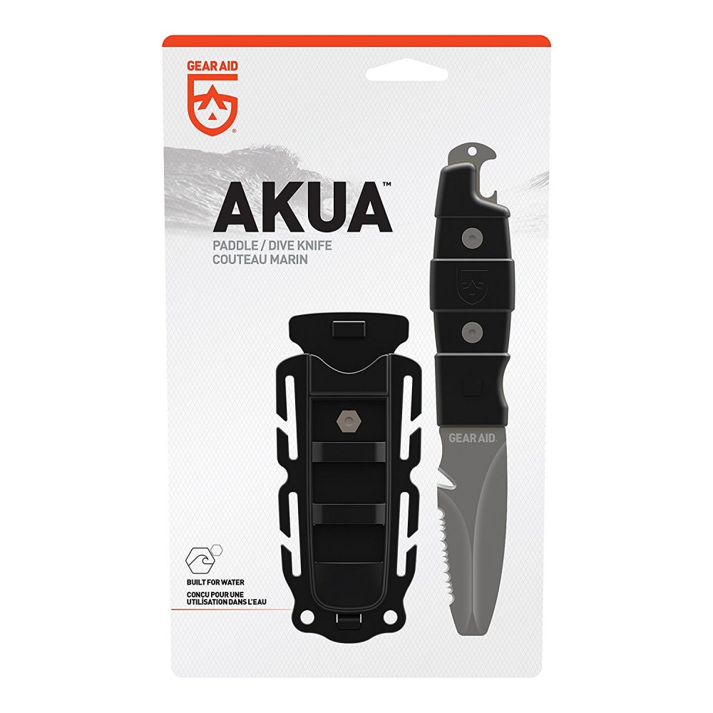 Gear Aid Akua Dive and Rescue Blunt Tip Waterproof Knife with Serrated Blade, Black