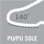 PU/PU sole material, resistant to 140°C