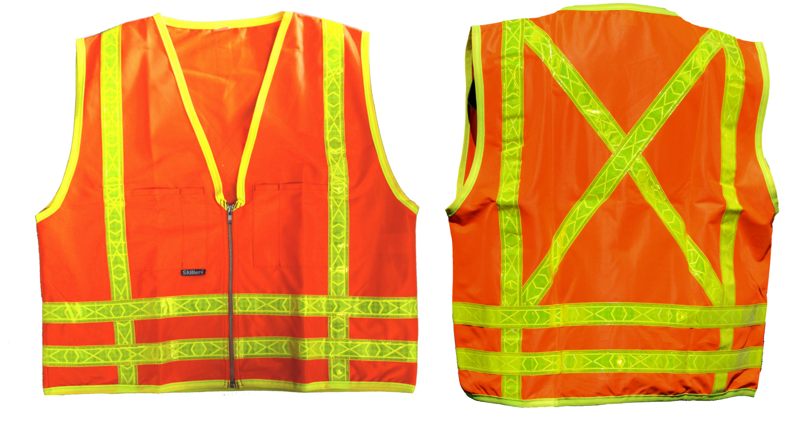 Skillers High Visibility Safety Vest With X on the Back